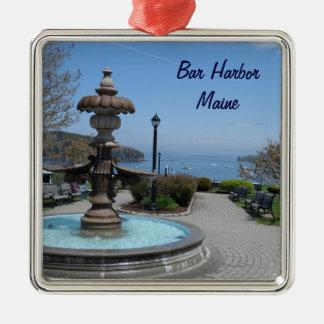 Bar Harbor, Maine Silver-Colored Square Ornament