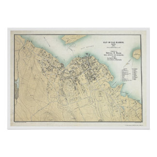 Bar Harbor, ME Plan Map 1896 Poster