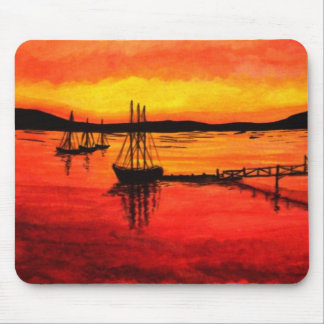 Bar Harbor Sunset Watercolor Mouse Pad
