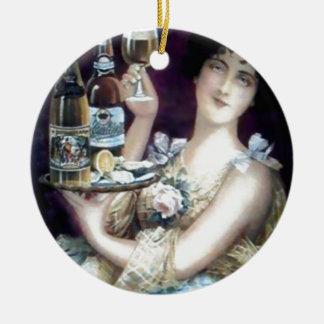 Bar Maid Vintage Poster Round Ceramic Ornament