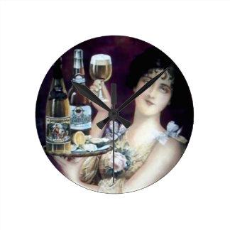 Bar Maid Vintage Poster Round Clock