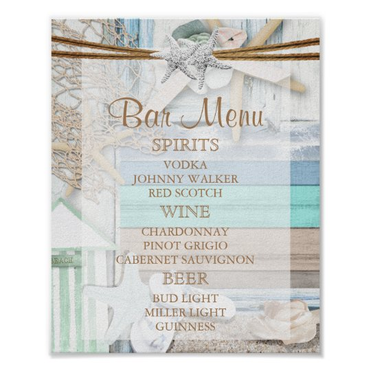 Bar Menu - Beachfront Wedding Poster