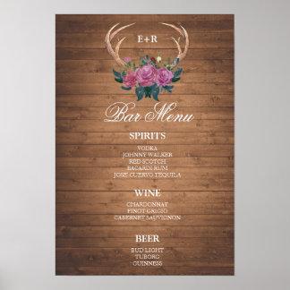 BAR MENU  big sign | Deer antler | wedding bar