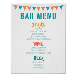 BAR MENU Fiest style wedding and party reception Posters