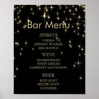 Bar Menu -  Gold & Black Starlights Wedding Poster