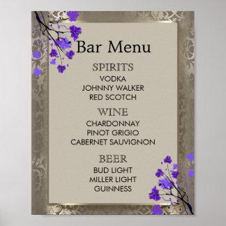 Bar Menu -  Purple Floral & Antique Silver Damask Poster