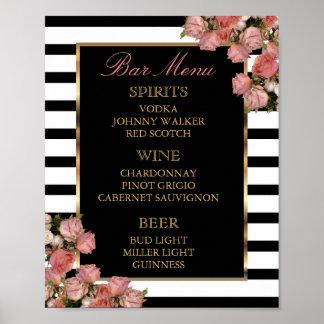 Bar Menu -  Rose Gold and Stripe Wedding Poster