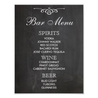 BAR MENU sign for wedding and party reception Poster