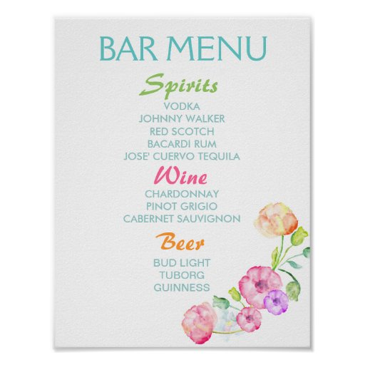 Bar menu sign - wedding party watercolor flowers posters