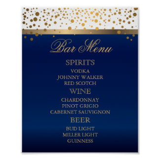 Bar Menu - White and Navy Blue with Gold Confetti Poster