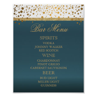 Bar Menu - White and Teal with Gold Confetti 2 Poster