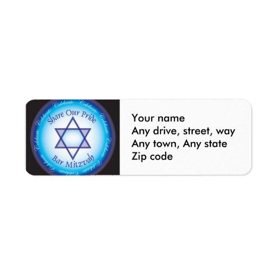 Bar Mitzvah Address return label Return Address Label