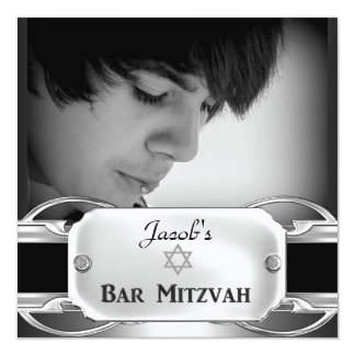 "Bar Mitzvah Black Silver Metal male 5.25"" Square Invitation Card"