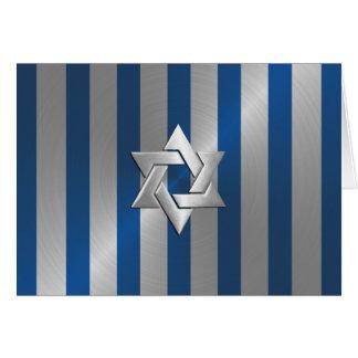 Bar Mitzvah Blue and Silver Stripe Star of David Card