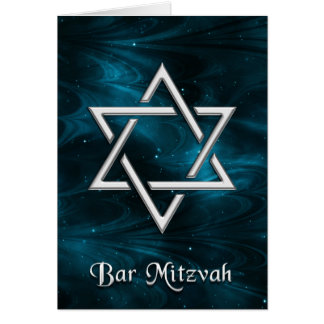 Bar Mitzvah Blue Nebulae & Silver Star of David Card