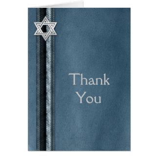 Bar Mitzvah Blue Striped Thank You Card