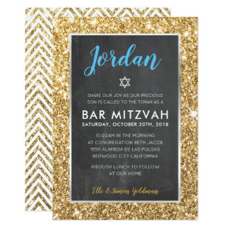 BAR MITZVAH cool chalkboard gold glitter invite