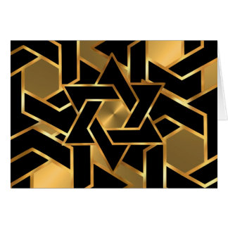 Bar Mitzvah Gold and Black Star of David Card