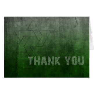 Bar Mitzvah Grunge Green Thank You Card
