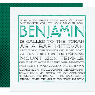 Bar Mitzvah Invitation - 2018 Pantone Arcadia