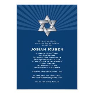Bar Mitzvah Invitation Josiah Silver Jewish Star