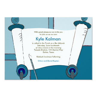 Bar Mitzvah Invitation Kyle Torah Blue