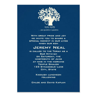 Bar Mitzvah Invitation Navy Tree of Life