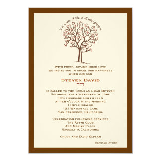 Bar Mitzvah Invitation Steven Tree of Life Brown