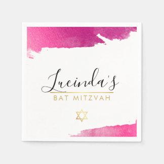 BAR MITZVAH modern luxe gilded gold pink black Paper Napkin