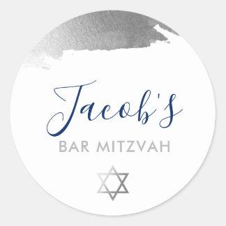 BAR MITZVAH modern luxe gilded silver navy blue Classic Round Sticker