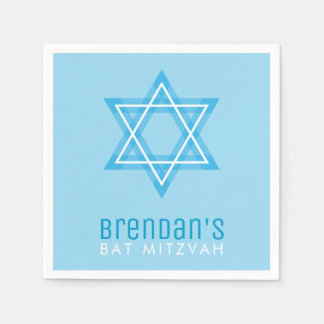 BAR MITZVAH modern stylish simple blue star Disposable Napkin