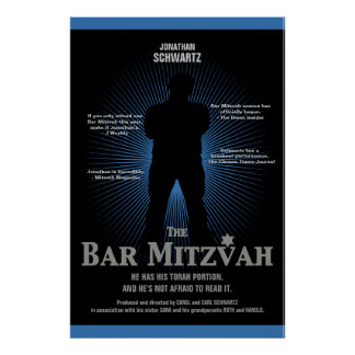 Bar Mitzvah Movie Star Poster in Blue, Black