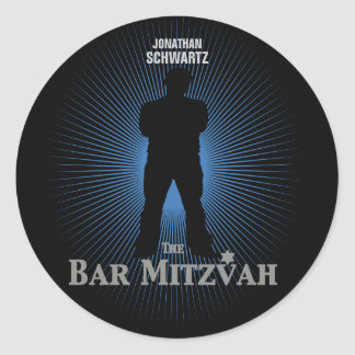 Bar Mitzvah Movie Star Sticker in Blue, Black