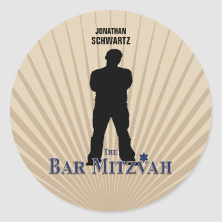 Bar Mitzvah Movie Star Sticker in Navy Tan