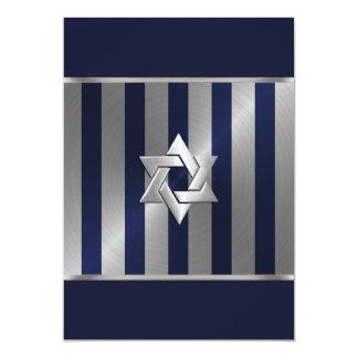 Bar Mitzvah Navy and Silver Stripe Star of David Card