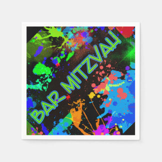 Bar Mitzvah Paint Splatter, Paint Ball Disposable Napkin