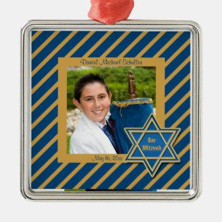 Bar Mitzvah Photo Keepsake Metal Ornament