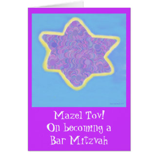 Bar Mitzvah Purple Jewish Star of David Card