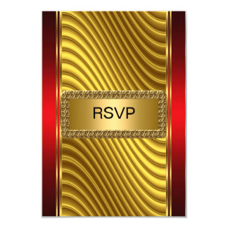 Bar Mitzvah rsvp Gold and Red Card