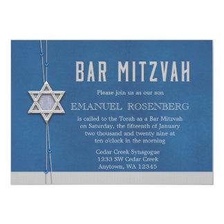 Bar Mitzvah Silver Star Blue Beads Card