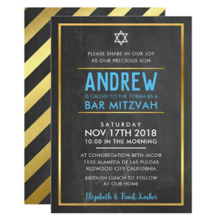 BAR MITZVAH smart bold type gold chalkboard blue Card
