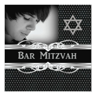 "Bar Mitzvah Star Black Silver Metal Studs 5.25"" Square Invitation Card"
