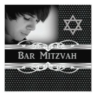 Bar Mitzvah Star Black Silver Metal Studs Card