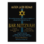 "Bar Mitzvah | Star of David | Black 5"" X 7"" Invitation Card"
