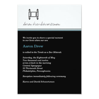 Bar Mitzvah Torah Midnight Black Invitation