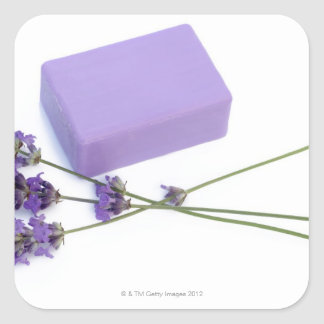 Bar of lavender soap made from 100% natural oils square sticker