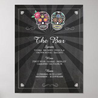 Bar Rustic Skull Sign Wedding Party Halloween Poster