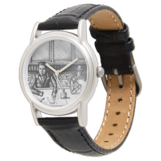 Bar Scene Hand Drawn Watch