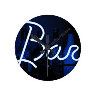 bar sign , cool blue lit neon light round clock