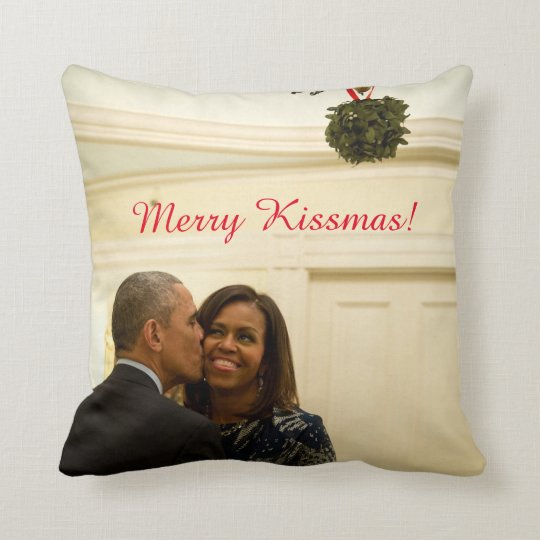 Barack and Michelle Merry Kissmas - Pillow